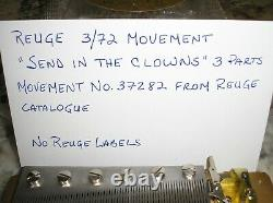 Vintage Reuge Swiss Musical Movement 3/72 note Send In The Clowns tune