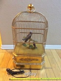 Vintage Reuge Swiss Singing 3 Bird Cage 27 Music Box Clockwork Coin Operated