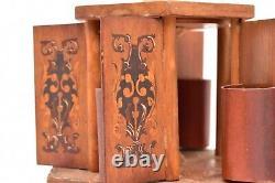 Vintage Reuge Thorens Lipstick carousel Wood carved Music Box Parts or Repair