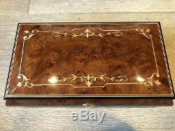 Vintage Sorrento Large Italian Inlaid Wood Jewelry Music Box withKey, 10 1/2 x 6