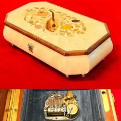 Vintage Swiss, Italy Cylinder Music Jewelry Box With Oak Case Hand Painted On It