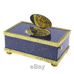 Vintage Swiss Made REUGE Lapis Lazuli Signing Music Bird Box, Ref. 1474, 1980s