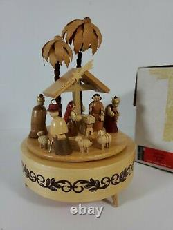 Vintage Swiss Made Reuge Nativity Music Box Silent Night in Mint Condition