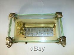 Vintage Swiss Reuge 72 Music Box, Crystal Clear Glass Case Large Dolphin Legs