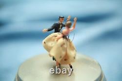 Vintage Swiss Reuge Dancers Dancing Music Powder Case Box SUPER RARE Mid Century