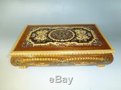 Vintage Swiss Reuge Dancing Ballerina Music Box Automaton Musical Jewelry Case