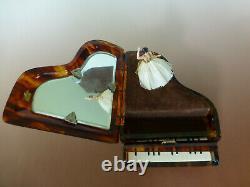 Vintage Swiss Reuge Dancing Ballerina Music Box Faux Tortoise Shell Piano Case