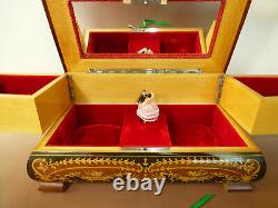 Vintage Swiss Reuge Dancing Ballerina Musical Jewelry Box Automaton (See Video)
