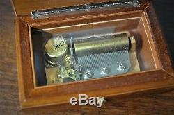 Vintage Swiss Reuge Inlaid Music Box Italy Ch 2/50 50 Edelweiss (2 Parts) 1263