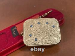 Vintage Swiss Reuge KEYCHAIN MUSIC BOX BLUE CRYSTALS orig box EDELWEISS