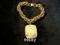 Vintage Swiss Reuge Minature Music Box Musical Gilt Gold Case & Bracelet Chain