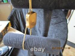 Vintage Swiss Reuge Miniature Music Box Necklace Pendant Mechanical Windup