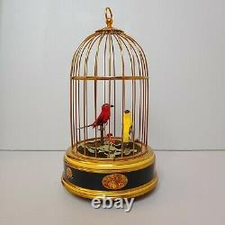 Vintage Swiss Reuge Music Box Cage TWO Automaton Singing Birds WORKS