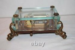Vintage Swiss Reuge Music Box, Crystal Clear Glass Case Dolphin Legs