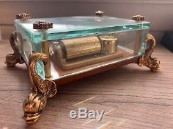 Vintage Swiss Reuge Music Box Etched Crystal Glass Case With Dolphin Legs