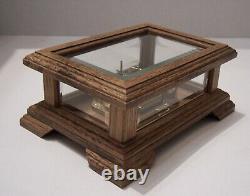 Vintage Swiss Reuge music box oak beveled glass coffin San Francisco box
