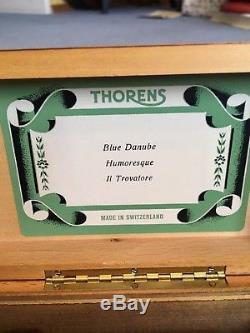 Vintage THORENS (PRE REUGE) Swiss Music Box Key Play 3 Songs Blue Danube