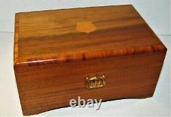 Vintage TWO SONG Reuge Sainte Croix Switzerland Inlaid Wood Music Box
