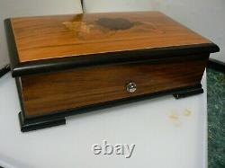 Vintage Thorens Pre-Reuge 6-Tune 41 Note Music Box in Wood Case with Inlaid Roses