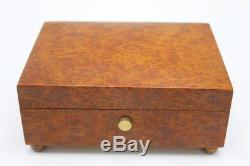 Vintage Wooden Reuge Music Box Switzerland Brahms & Mozart 6 x 4.5 x 2.5