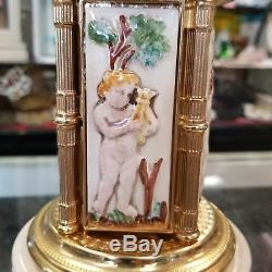 Vintage capodimonte style Italy musical cigarette / lipstick holder by Reuge pla