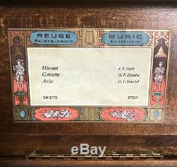 Vtg Reuge 3/72 Swiss Music Box Sainte Croix Switzerland- Plays Beautifully