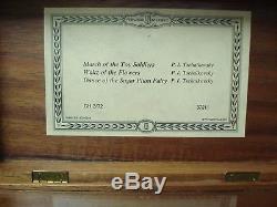 Vtg Reuge 72 Note Wood Music Box 3 Songs Tchaikovsky Swiss (March, Waltz, Dance)