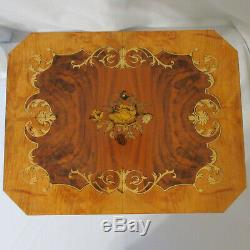 Vtg Reuge Italian Marquetry Inlaid Wood Floral Jewelry Music Box Accent Table