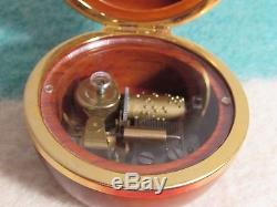 Vtg Reuge MID Century Mahogany Wood Music Box Round Rare Switzerland As Time
