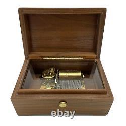 Vtg Reuge Wood Music Box 2/28 Lara's Theme & Edelweiss, Sainte Croix Switzerland