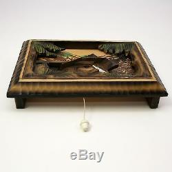 Vtg Swiss REUGE Mill in the Black Forest Wood Wall Hung Music Box SEE VIDEO