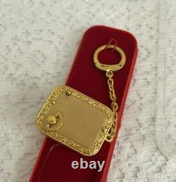 Vtg Swiss Reuge Picture Frame Goldfield Music Box Key Chain Rare Brass movement