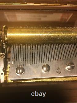 Vtg Thorens 4/50 Music Box Swiss Pre Reuge Christmas Silent Night See Details