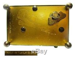Vtg. Unique Mid Century Reuge Swiss Black Gold Mechanical Music Box Alarm Clock